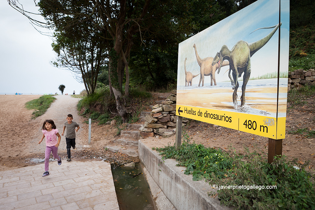 Paseo que lleva hasta las huellas de dinosaurios en la playa de La Griega. Asturias. España © Javier Prieto Gallego