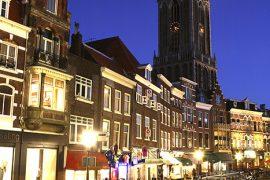 Bicicletas y La torre Dom desde uno de los canales de Utrecht. Holanda. © Javier Prieto Gallego