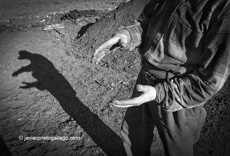 El carbonero José González en una de las pocas carboneras que todavía se realizan en Retuerta. Burgos. Castilla y León. España, 2007 © Javier Prieto Gallego;