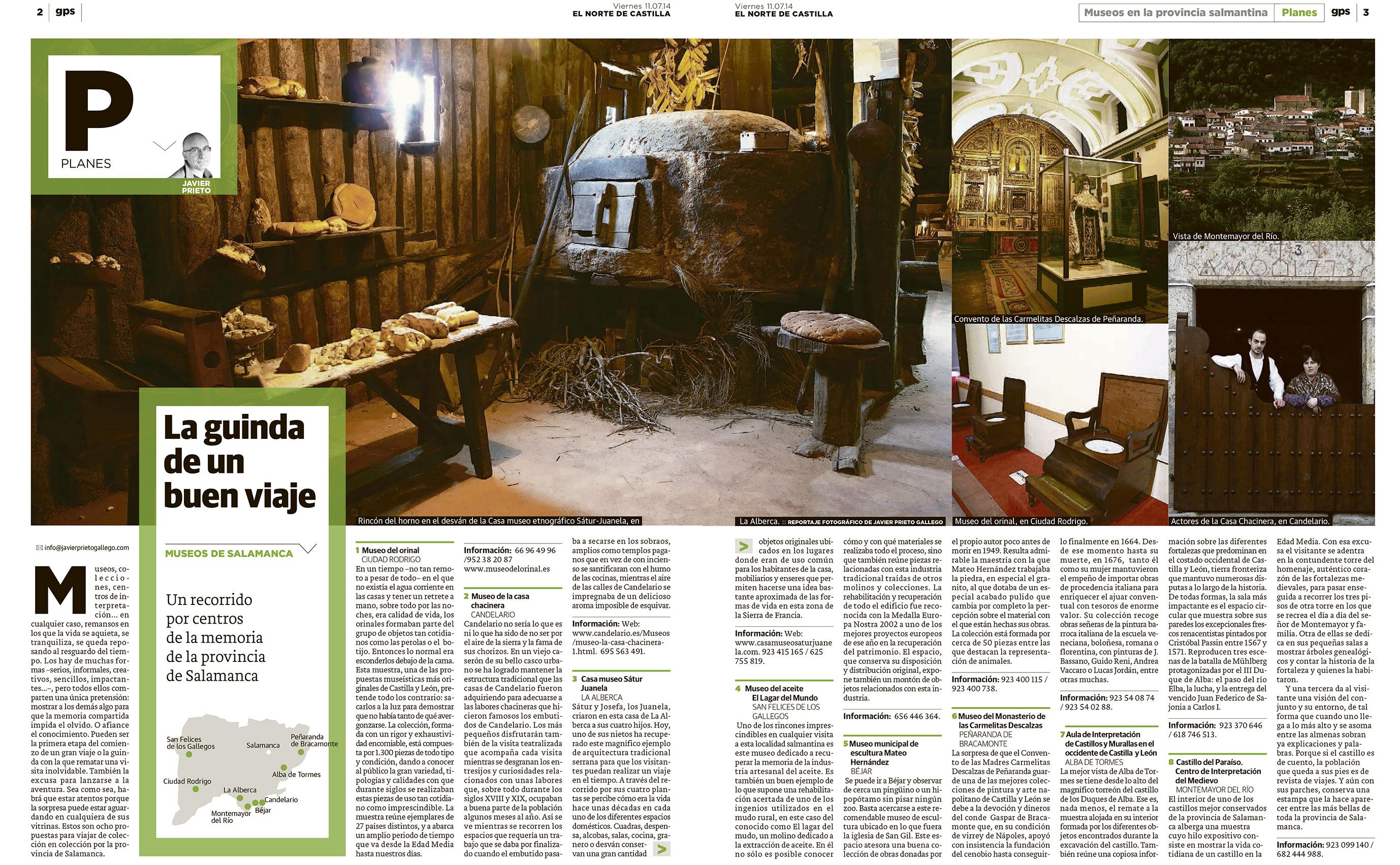 Reportaje sobre museos y colecciones en la provincia de Salamanca publicado por Javier Prieto Gallego en El Norte de Castilla.
