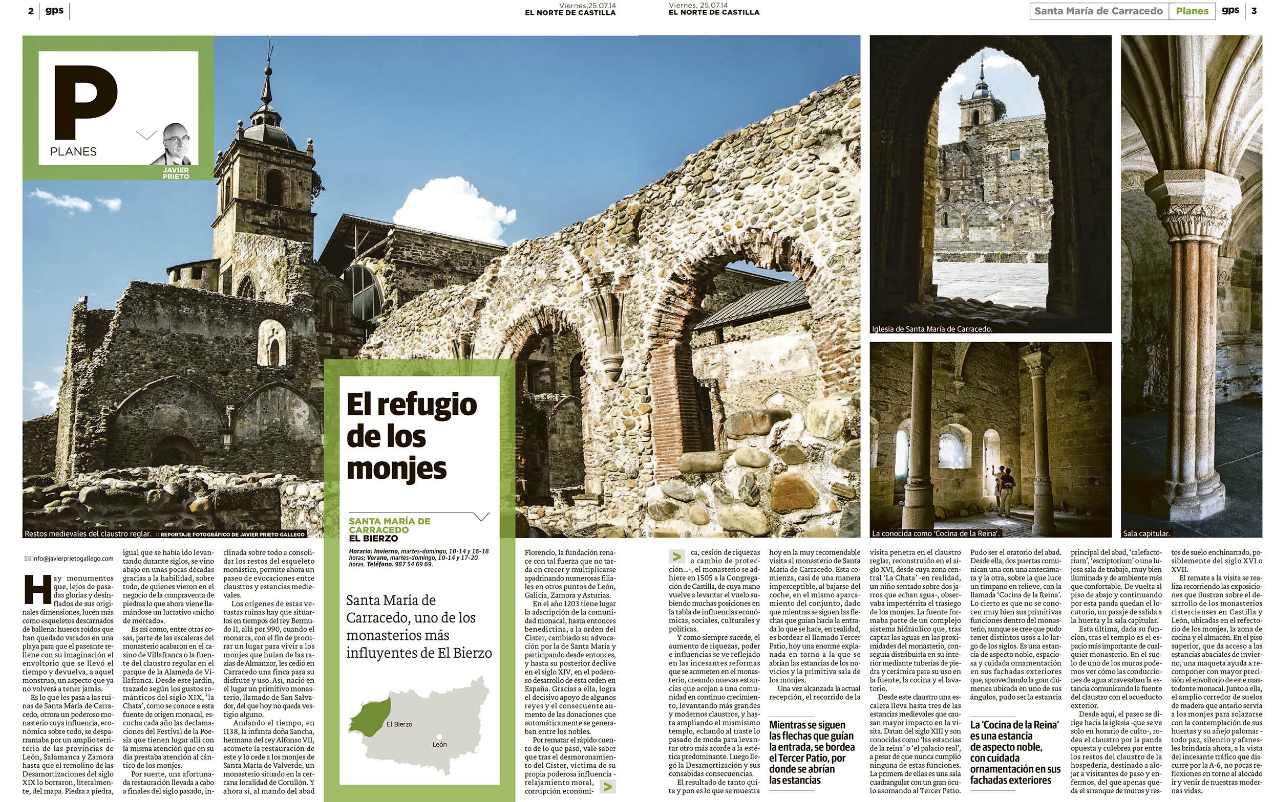 Reportaje publicado sobre Santa María de Carraedo publicado por Javier Prieto Gallego en el periódico EL NORTE DE CASTILLA.