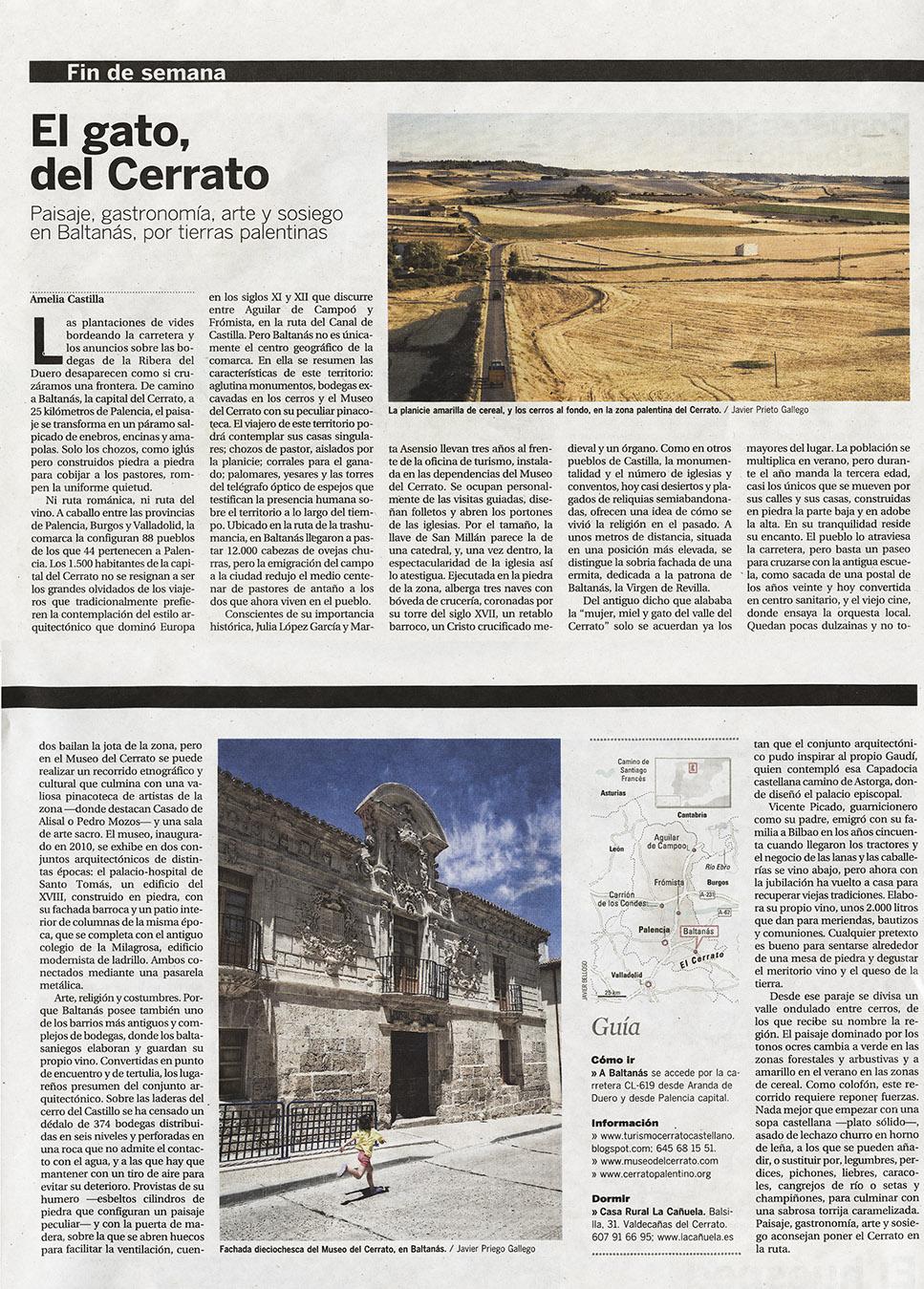 2014/07/18 EL VIAJERO/ EL PAÍS. Reportaje sobre El Cerrato con fotos de Javier Prieto Gallego