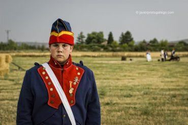 Participante en la recreación histórica de la batalla de Moclín, ocurrida el 14 de julio de 1808 entre los ejércitos francés y español en Medina de Rioseco. Fue la batalla deciva que llevó a José Bonaparte al trono español. 15/7/2006. Medina de Rioseco. España.