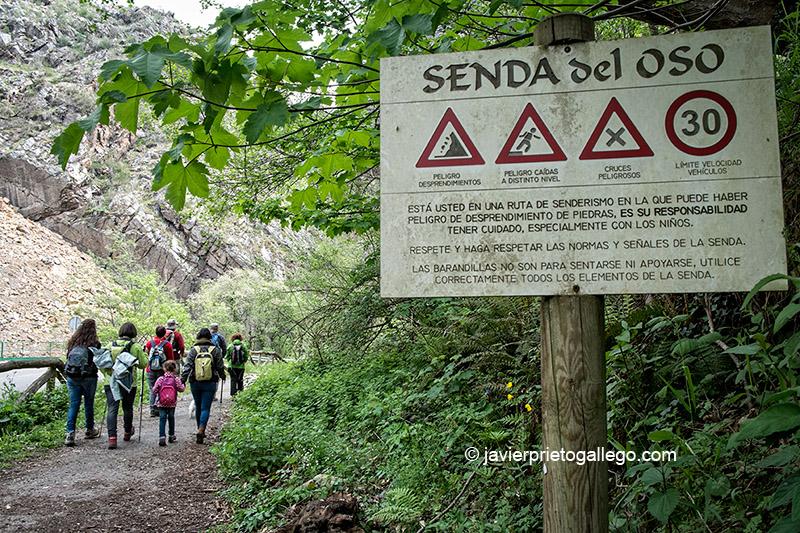 Señalización en la Senda del Oso. Asturias. España. © Javier Prieto Gallego