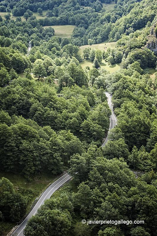 Una carretera atraviesa el valle de Sajambre, en el interior del Parque Regional de Picos de Europa. León. Castilla y León. España. © Javier Prieto Gallego