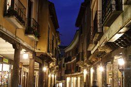Calle porticada de La Rúa Mayor. localidad de Medina de Rioseco. Camino de Santiago desde Madrid. Provincia de Valladolid. Castilla y León. España. © Javier Prieto Gallego