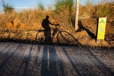 Sombra de un cicilista que recorre la Vía Verde del Esla, entre Castrofuerte y Valencia de Don Juan. León. Castilla y León. España © Javier Prieto Gallego;