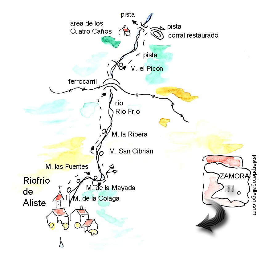 Croquis del recorrido por los molinos de Riofrío de Aliste (Zamora)