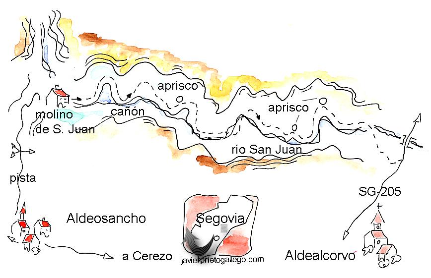 Croquis del paseo por el cañón del río San Juan en Segovia.  © Javier Prieto Gallego