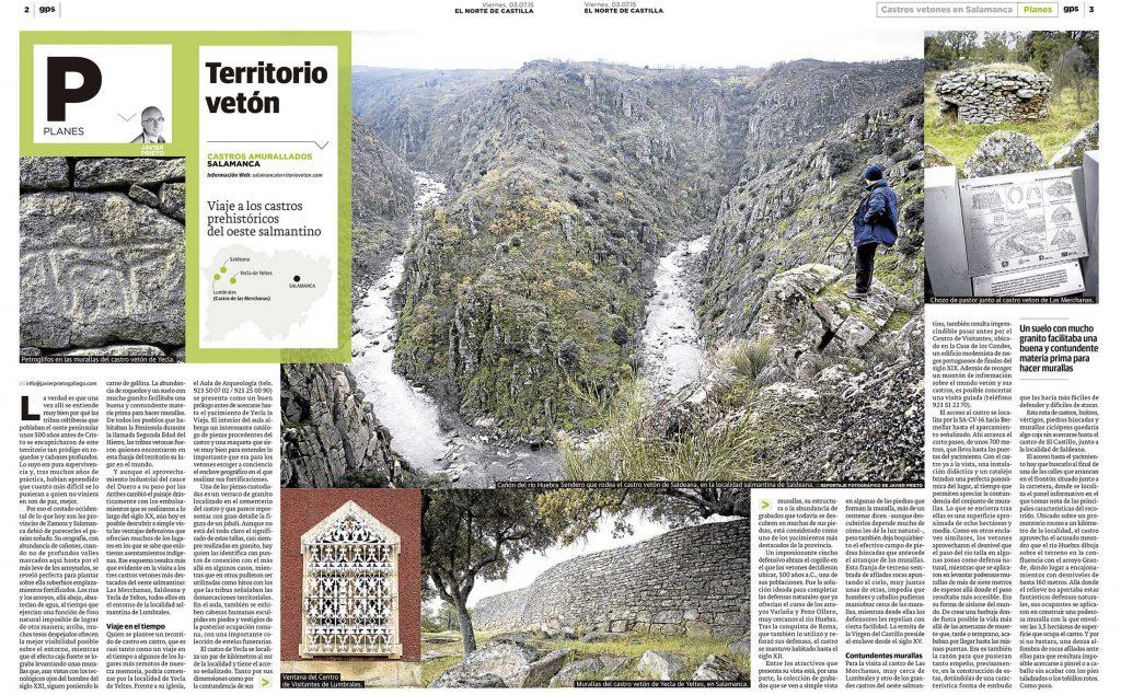 Territorio vetón. Reportaje sobre los castros salmantinos de esta etnia en el oeste salmantino publicado por Javier Prieto Gallego en EL NORTE DE CASTILLA.