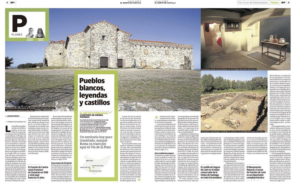 Reportaje de Tentudía (Badajoz) publicado por Javier Prieto Gallego en el periódico EL NORTE DE CASTILLA