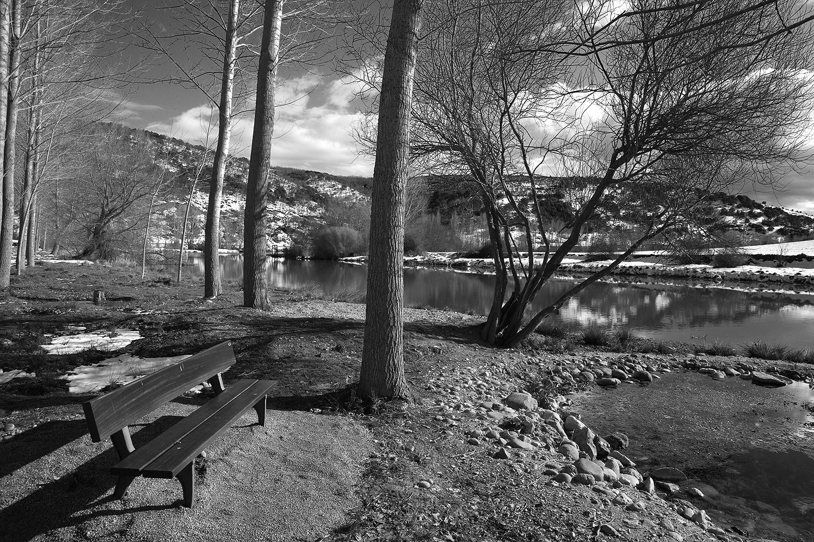 Banco junto a las aguas del Pisuerga entre Alar del Rey y Nogales. Palencia. Castilla y León. España © Javier Prieto Gallego