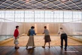 Sala principal de la Villa romana de La Olmeda con el mosaico Oecus. Palencia. Castilla y León. España. © Javier Prieto Gallego