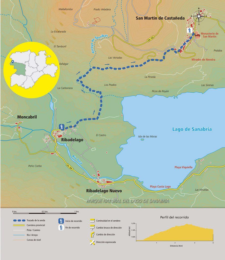 Croquis del recorrido de La Senda de los Monjes. Parque Natural del Lago de Sanabria. © Javier Prieto Gallego;
