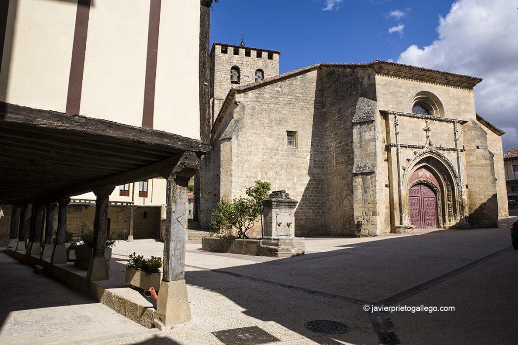 Plaza porticada e iglesia gótica de San Pedro. Localidad de Santa Gadea del Cid. Burgos. Castilla y León. España. © Javier Prieto Gallego