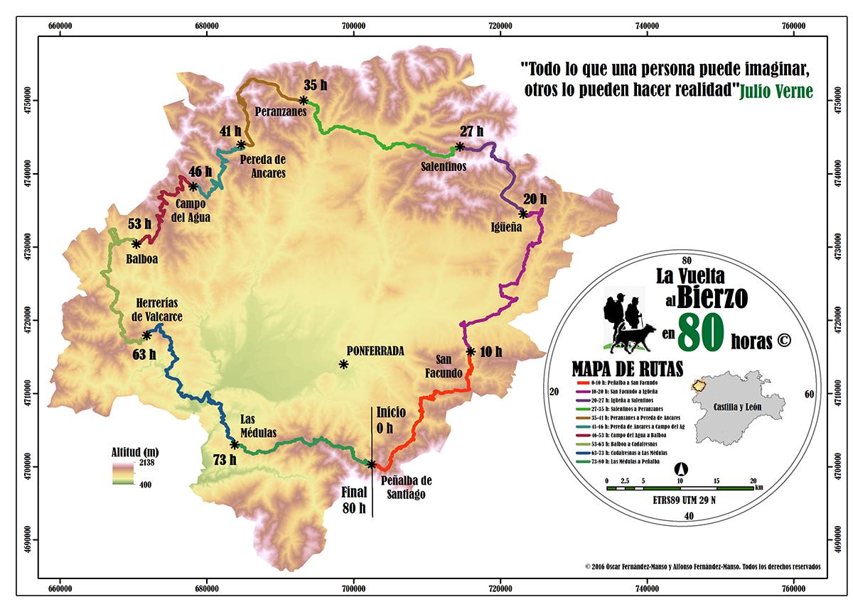 Etapas de la Vuelta al Bierzo en 80 horas.