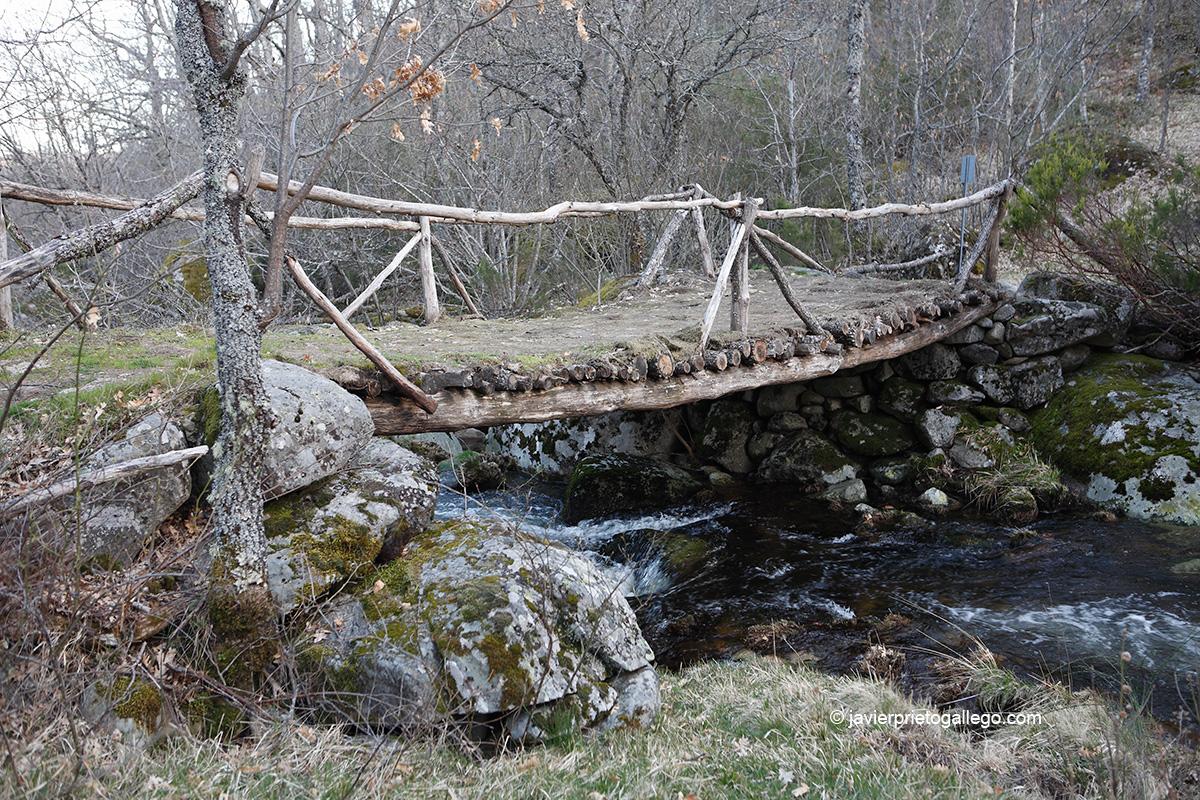 Un viejo puente de troncos facilita el paso sobre el río Truchas en el camino de las cascadas de Sotillo. Sotillo de Sanabria. Parque Natural Lago de Sanabria y alrededores. Zamora. Castilla y León. España © Javier Prieto Gallego