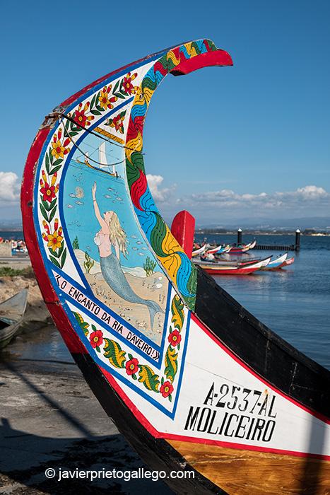 Emabarcaciones tradicionales moliceiras en el Puerto de Torreira. 40.758148, -8.701677. Portugal © Javier Prieto Gallego