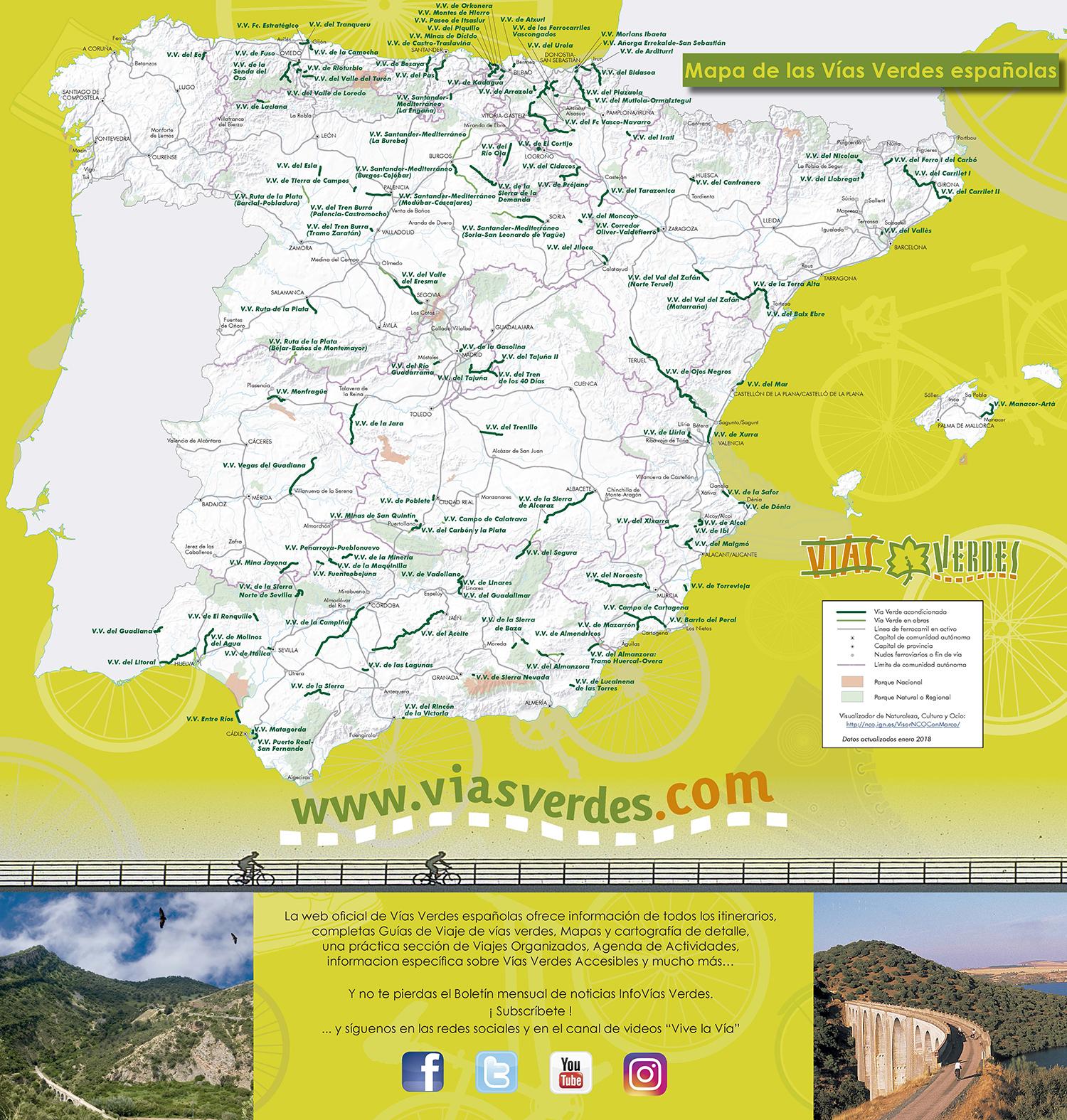 Mapa de Vías Verdes.