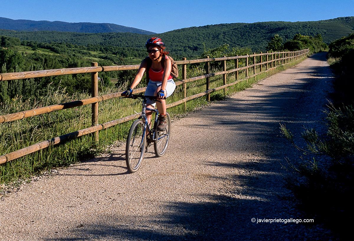 Una ciclista recorre la Vía Verde de la Demanda en la provincia de Burgos. España.© Javier Prieto Gallego