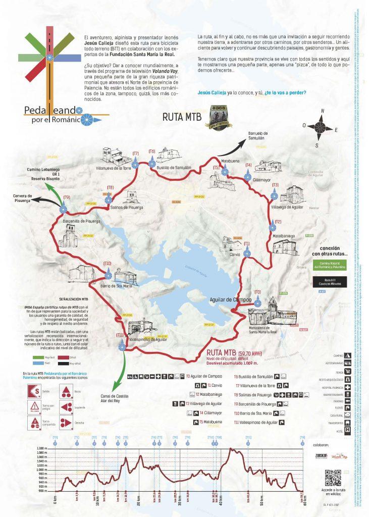 Plano de la ruta en bicicleta Pedaleando por el Románico.