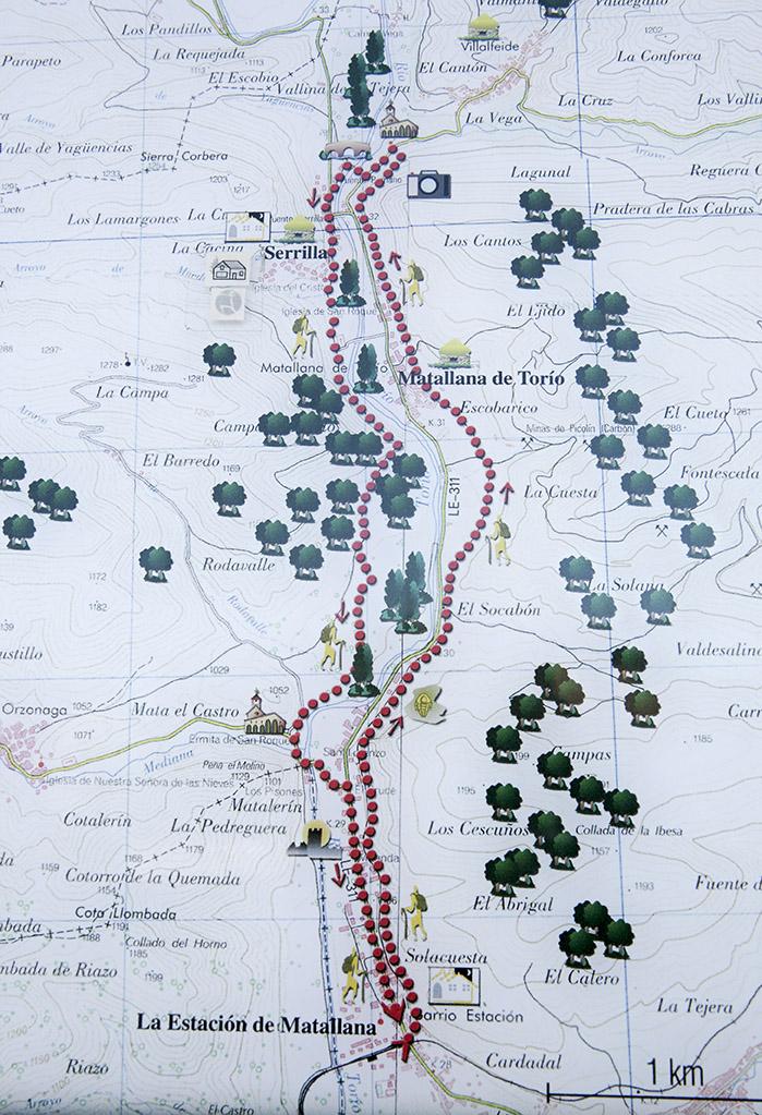 Mapa de la ruta de senderismo Vía Bardaya.