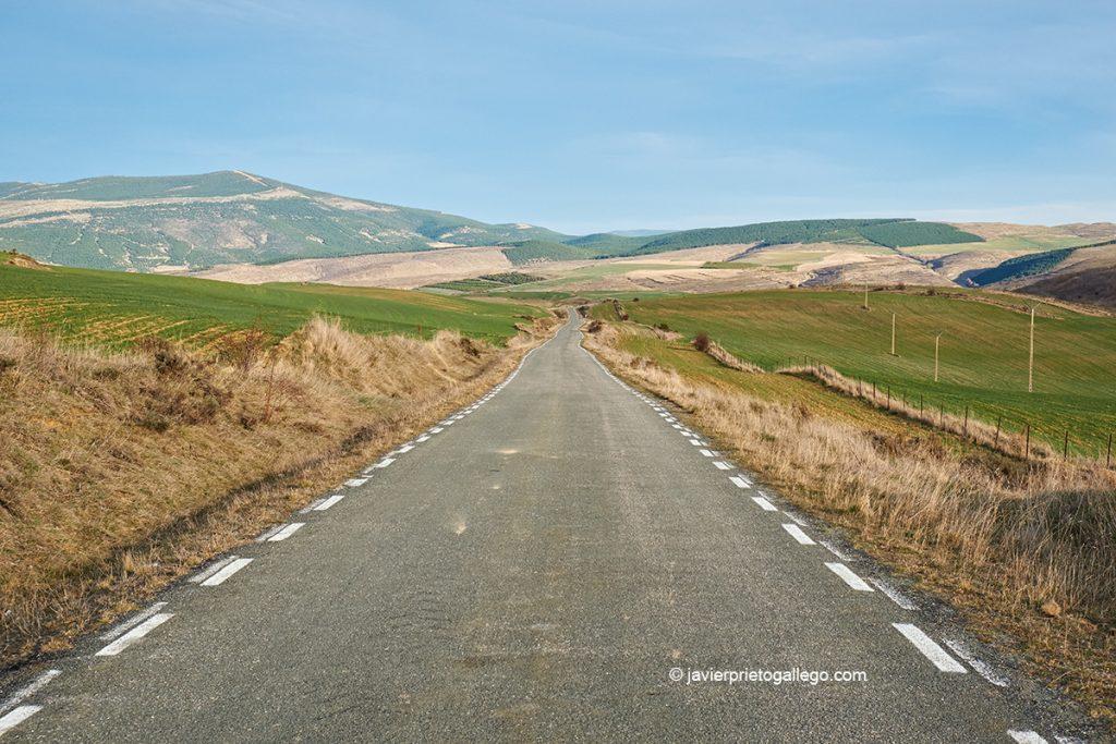 Carretera de Santa Cruz de Yanguas a Bretún. Ruta de las Icnitas. Soria. Castilla y León. España. © Javier Prieto Gallego