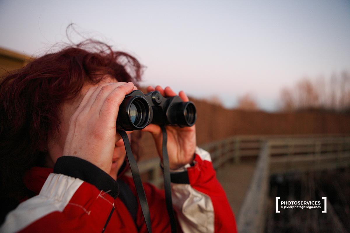 Una aficionada observa aves en la laguna de La Nava al atardecer. Tierra de Campos. Palencia. Castilla y León. España.© Javier Prieto Gallego