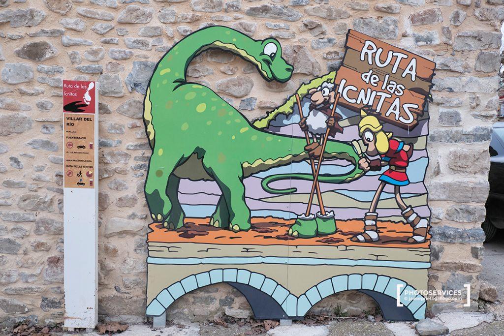 Cartel de la Ruta de las Icnitas en Villar del Río. Ruta de las Icnitas. Soria. Castilla y León. España. © Javier Prieto Gallego
