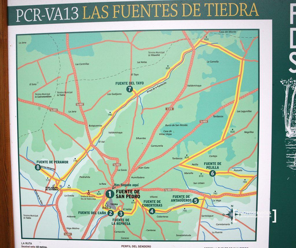 Panel con información del recorrido de las Fuentes de Tiedra.