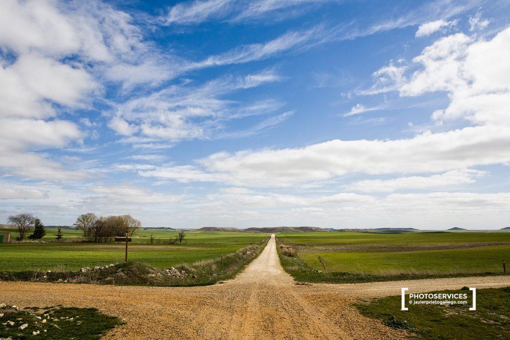 Señalización del la ruta de las fuentes en Tiedra. Valladolid. Castilla y León. España. © Javier Prieto Gallego