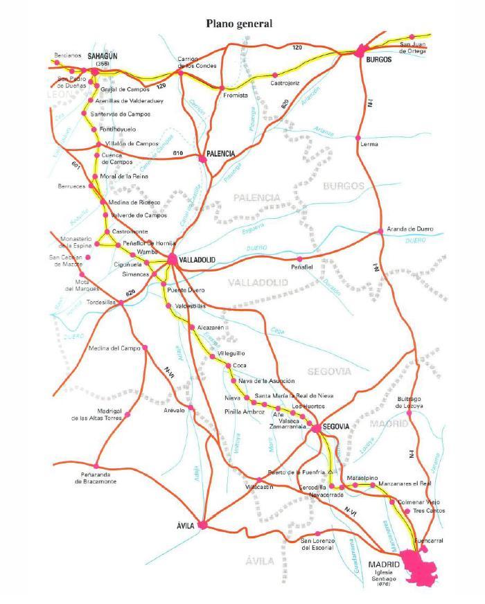 Mapa del Camino a Santiago desde Madrid.