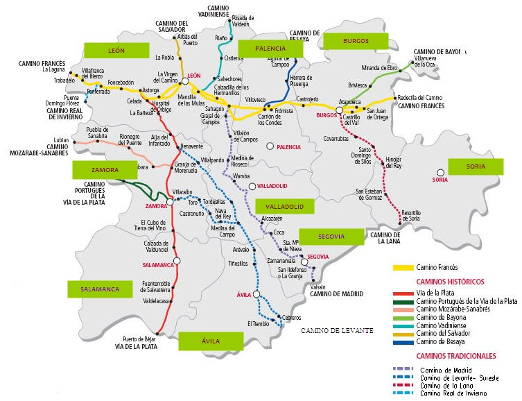 Los Caminos a Santiago en Castilla y León.